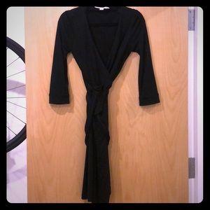 Classic Black DVF wrap dress